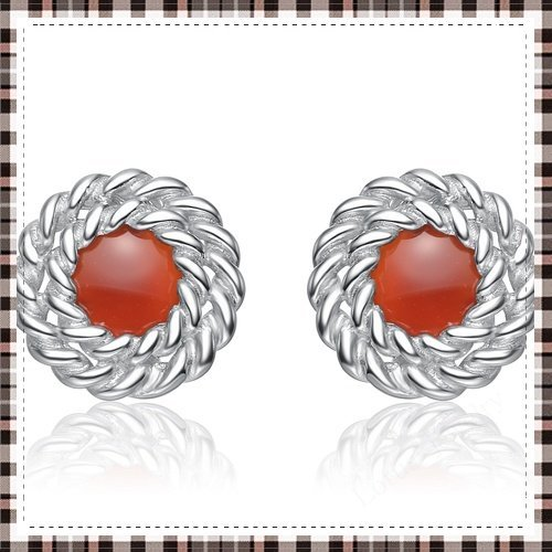 Free Shipping! silver agate stud earrings made of  100% solid genuine 925 sterling silver red agate inlayed