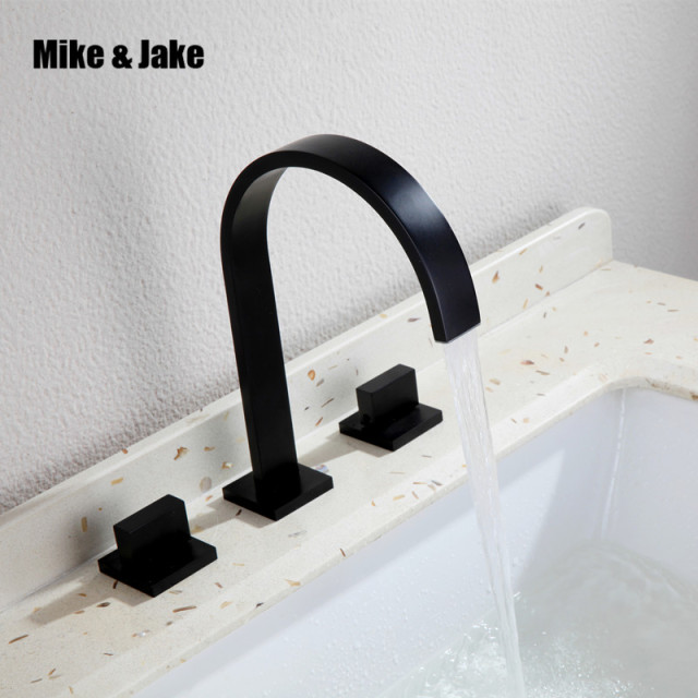 Double handle square bathroom black faucet mixer faucet Tap three ...
