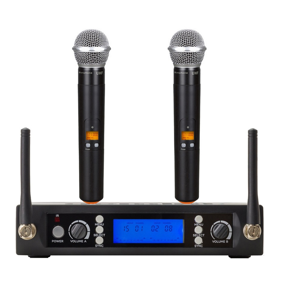 Bolymic Dual Channes Cordless Microphone Professional microphone Wireless Karaoke Handheld Lavalier Instrument Microphone