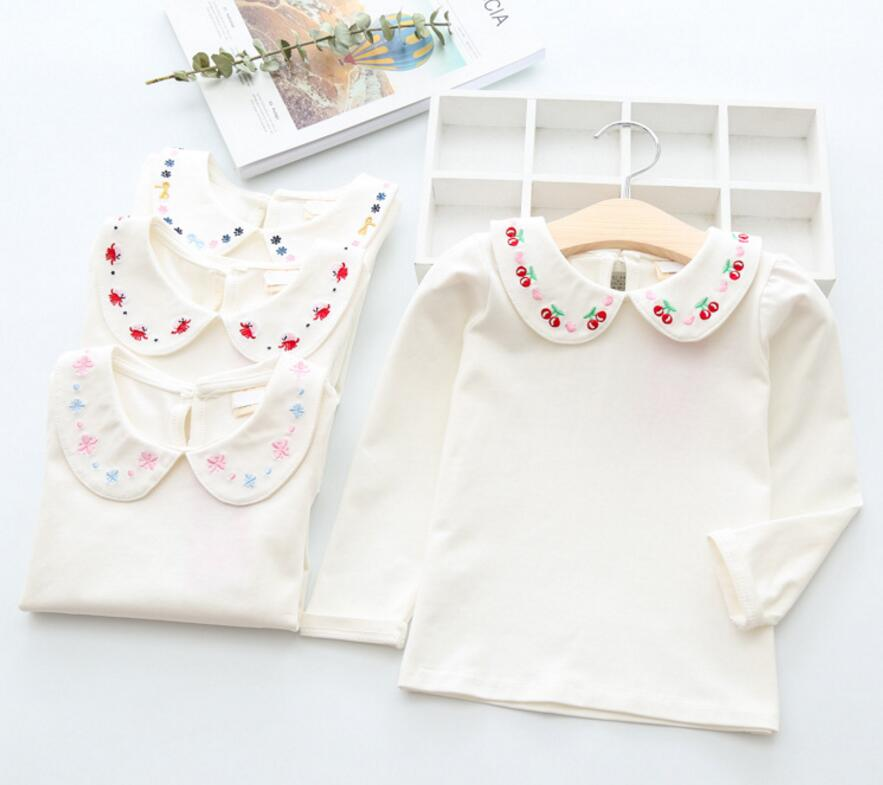 sea kids mall New Baby Girls Fall Cotton Embroidry Collar T-shirt , Princess Kids Fashion Top 5 pieces/lot, Wholesale