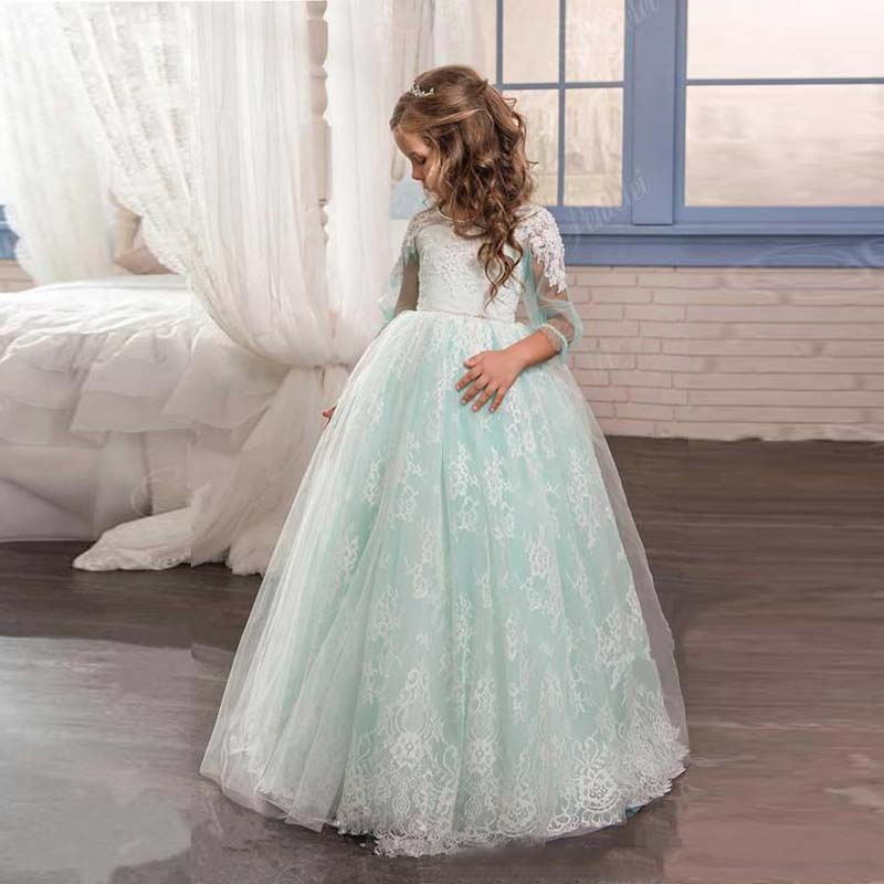 2019 Romantic Mint Green Flower Girl Dress for Wedding Tulle Lace Open Back Ball Gown First Communion Pageant Dress for Girls