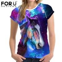 Forudesigns الحصان 3d النساء تي شيرت ، الأسد البومة الإناث قمزة أعلى قميص زائد ، غالاكسي التنفس السيدات الأساسية المرنة قميص فام الملابس