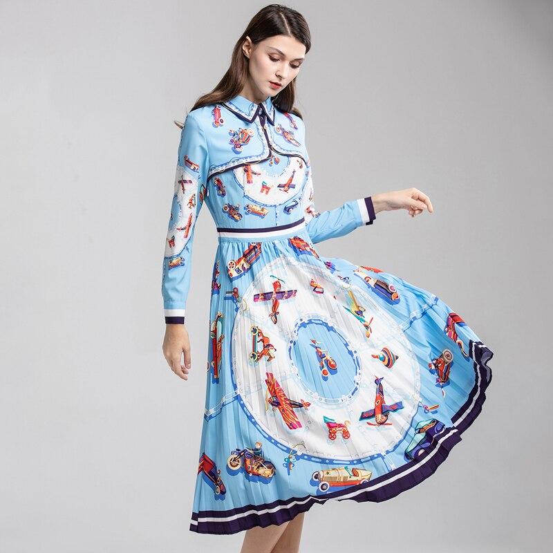 OL ผู้หญิงชุดรันเวย์ 2019 แฟชั่นฤดูใบไม้ผลิดอกไม้พิมพ์ Slim ยาวแขนยาวเปิดลงปลอกคอสีฟ้ายุโรปร้อนชุด-ใน ชุดเดรส จาก เสื้อผ้าสตรี บน   1