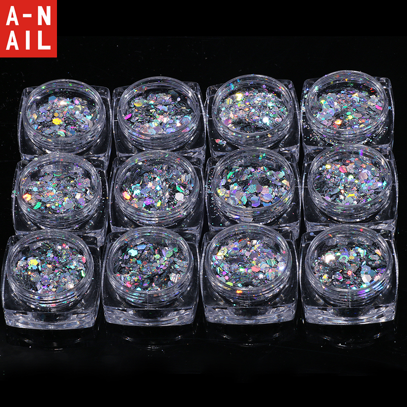 12jars/set Mixed size Nail Art Glitter Powder Assorted Shape Loose Sequins DIY Nail Art Tips Decoration Laser Sliver Confetti 3d 12 candy colors glass fragments shape nail art sequins decals diy beauty salon tip free shipping