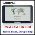 CARRVAS 7 polegada HD Carro/Caminhão de Navegação GPS 800 M/FM/8 GB/256 MB 2016 mapas Para A Rússia/Bielorrússia/Cazaquistão Europa/EUA + Canadá