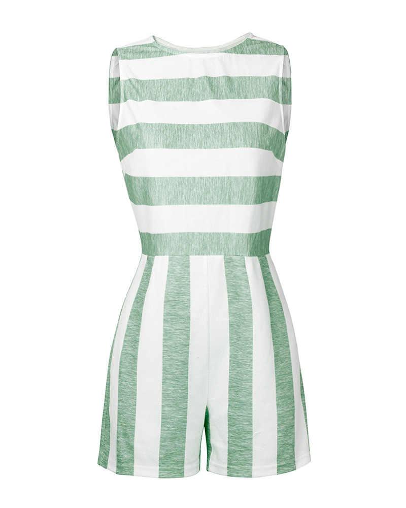 A rayas sin mangas traje de verano de las mujeres hombro Casual mujer hueco suelta pantalones Retro overoles