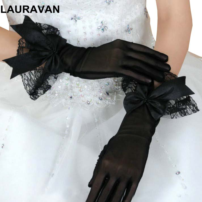 Sexy Wrist Length Women Lace Bride Gloves Black Lace Hand Gloves Mittens For Party Sun Protection Wedding Accessories Gloves