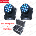 SONGXU 2 pcs light + flight case packaged  led beam moving head light 12x10w equipment DMX DJ Lighting Stage Light/SX-MH1210A