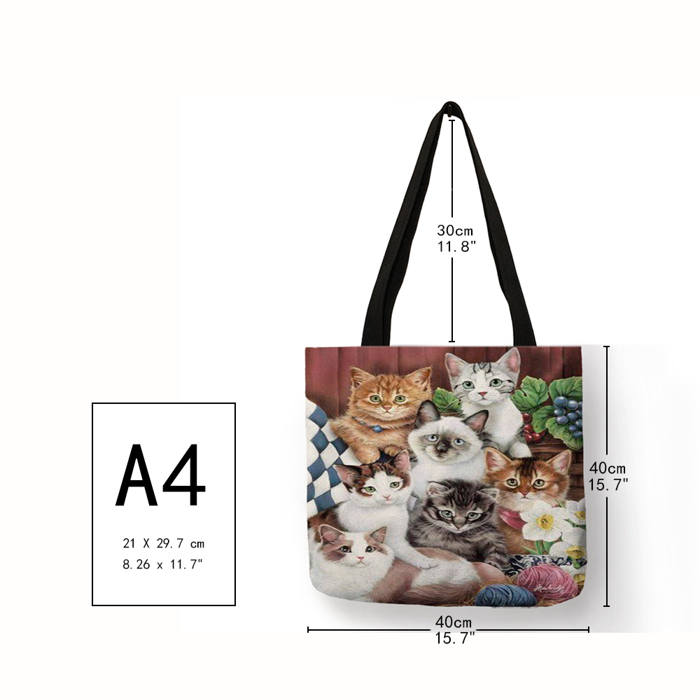 Multi-function Eco Large Casual Grocery Shopping Tote Bag Cartoon 3D Cute Cat Printing Lady Reusable Foldable Daily Hand Bag 1