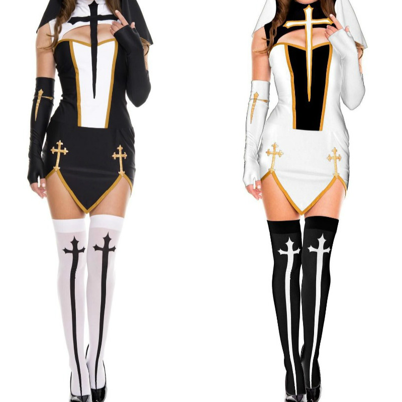 2018 New Black Long Dresses Set Split Role Play Nun Costumes Sexy Women Shows Cosplay Uniform Temptation Nun Halloween Costume