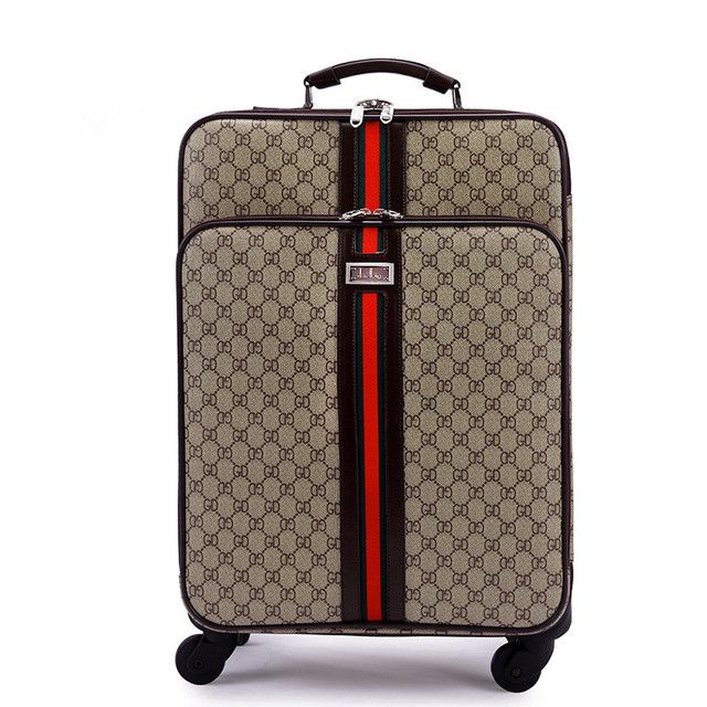 "High quality 16"" 18"" 20"" 22"" 24"" vintage pu leather trolley luggage on universal wheels,euro fashion style retro travel bags"