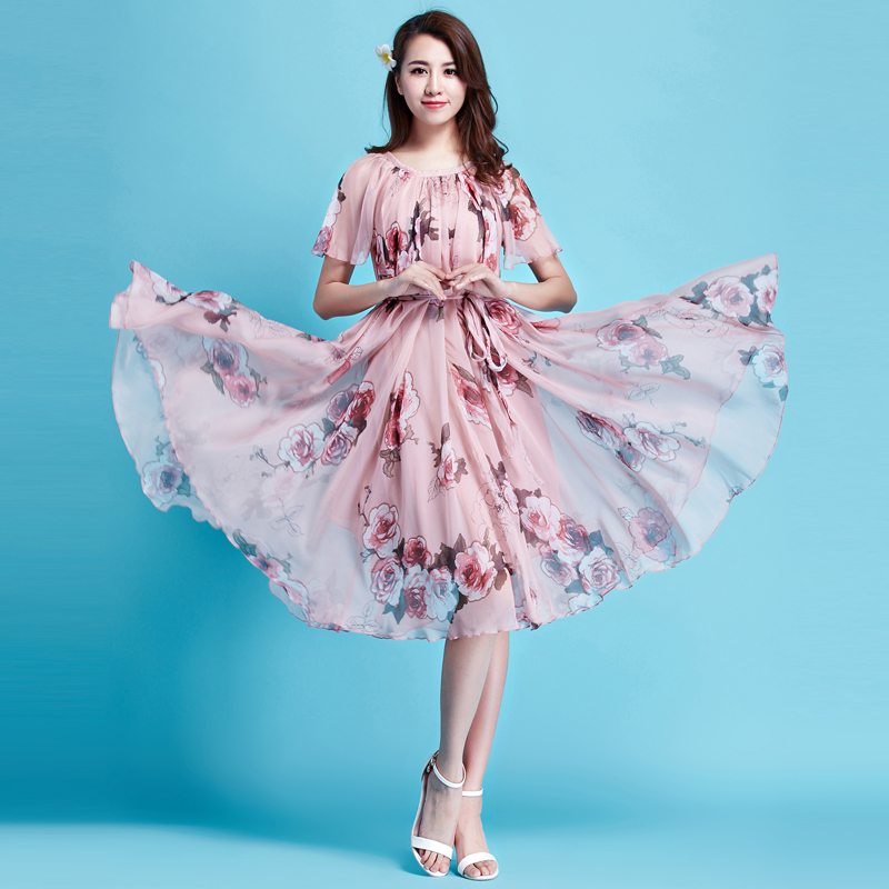 2019 Floral Short Sleeve Chiffon Holiday Beach Short Dress Comfortable Honeymoon Sundress Flowy Bohemia honeymoon Hawaii