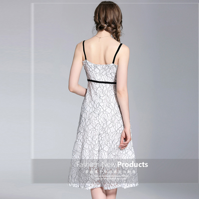 Fashion 2018 Lace Dress Women Summer Sleeveless Dresses Slim Slash Neck Sexy Patchwork Robe Femme Sping Casual A Line Dresses in Dresses from Women 39 s Clothing