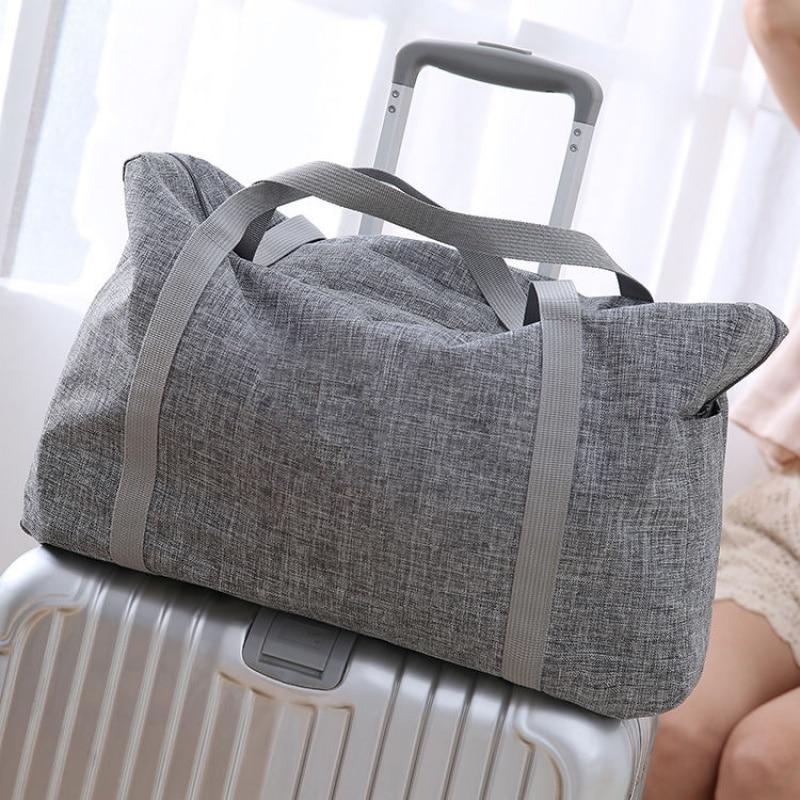 Enlarge Foldable Travel Bag Women Portable Big Duffle Tote Organizer Large Capacity Fashion Weekend Handbags Garment Storage