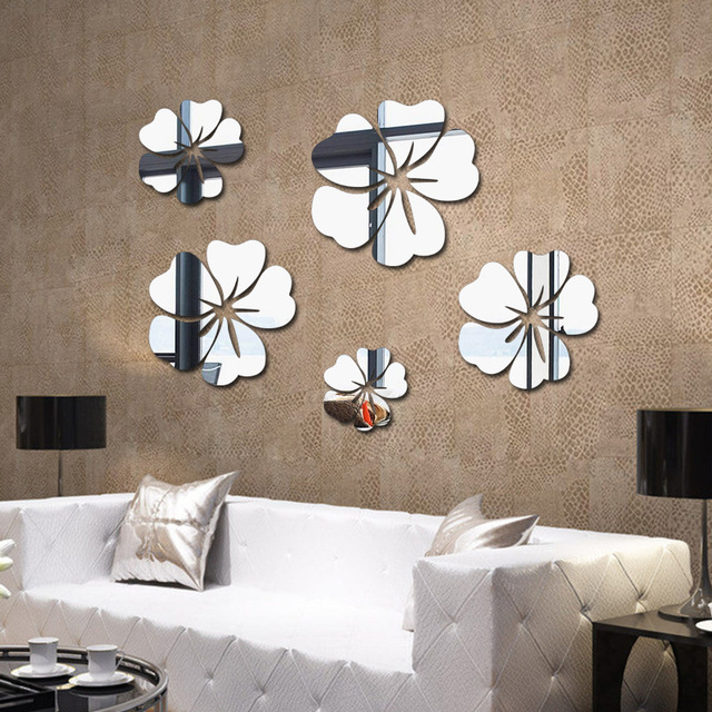 Flower Mirrors Decorative Vinyl Wall Sticker Mirror Living Room Bathroom Decoration Decor Ceiling Stickers
