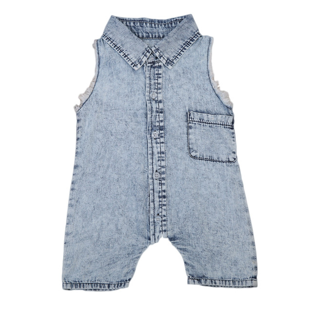 eba3a70a32 Denim Newborn Baby Turn Down Collar Romper Infant Boy Girl Sleeveless Jumpsuit  Clothes Outfit