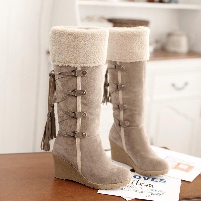 Pantorrilla Nieve Invierno Lace Botas Cm Mujer Moda Flat 7 Cuñas Más Altos coffee Negro Tacones black Beige Tamaño Zapatos Piel De 43 Mediados Up IwTpqxC5T
