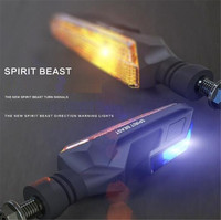 SPIRIT BEAST Motorcycle Modified Turn Signals Waterproof Turn Lights LED Direction Lamp Decorative Motocross Lights Daytime