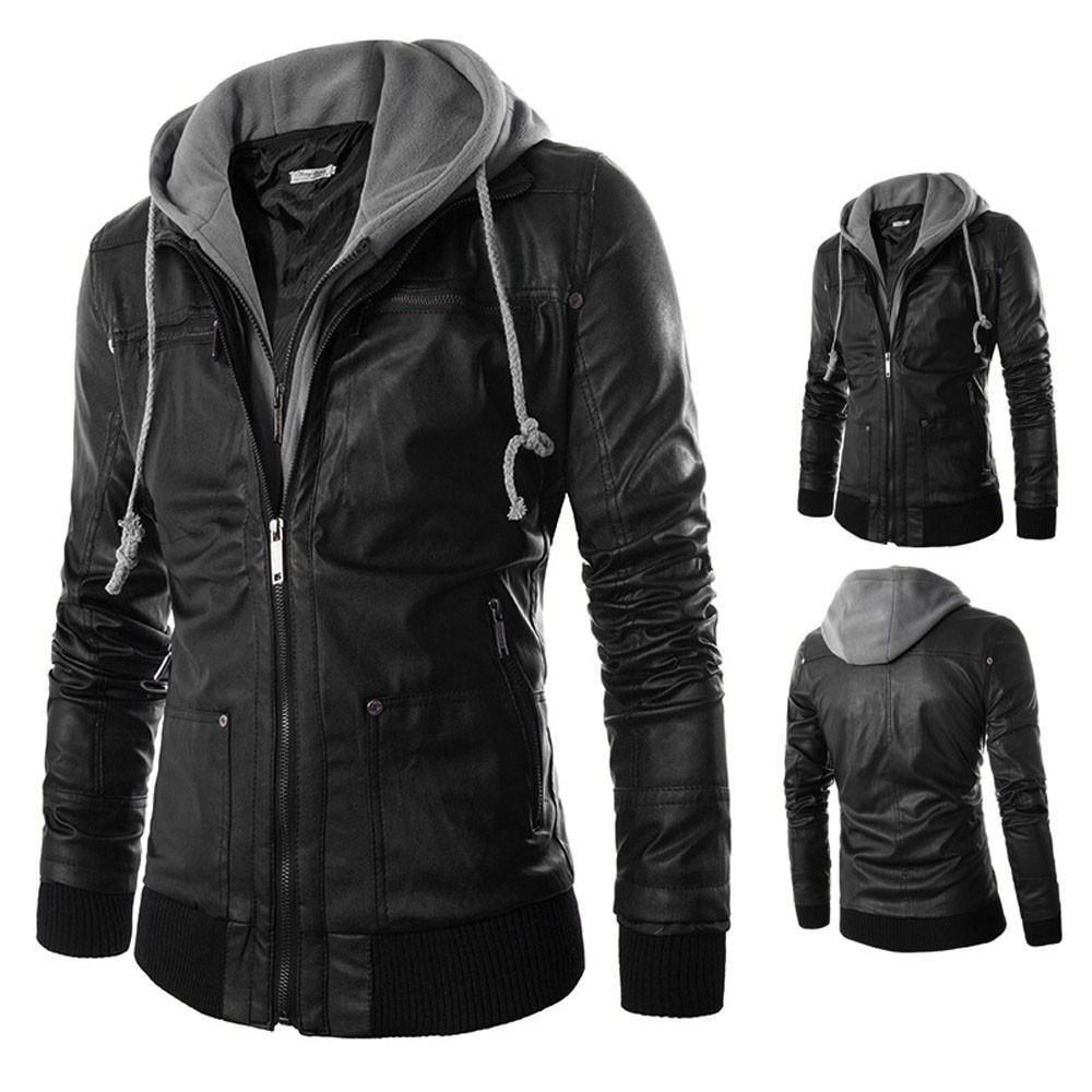 Popular Leather Jackets for Men with Hood-Buy Cheap Leather ...