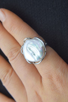 freshwater pearl ring white reborn keshi falt baroque ring 20 25mm 7.5# wholesale beads nature