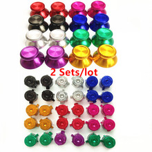 2 Sets Aluminum Metal ABXY Bullet Buttons Thumbstick Cap 3D Joystick Cover For Playstation 4 PS4 Dualshock 4 Controller Gamepad