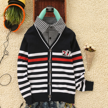 2017 New Fashion Boys Sweaters Children clothing Fake collar England Style 100% Cotton Knitwear Children Sweaters Boys Cardigan