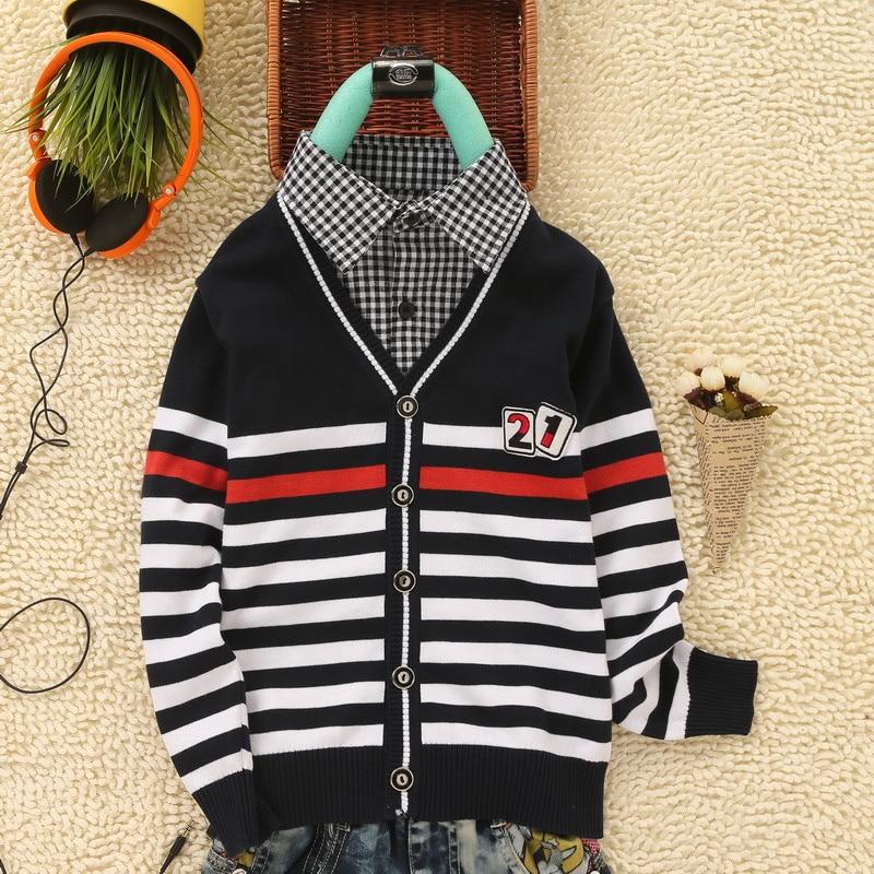DapChild Knitted Sweater For Boy Kids Wear Fake T shirt Collar England Style Teenager Boys Cardigan