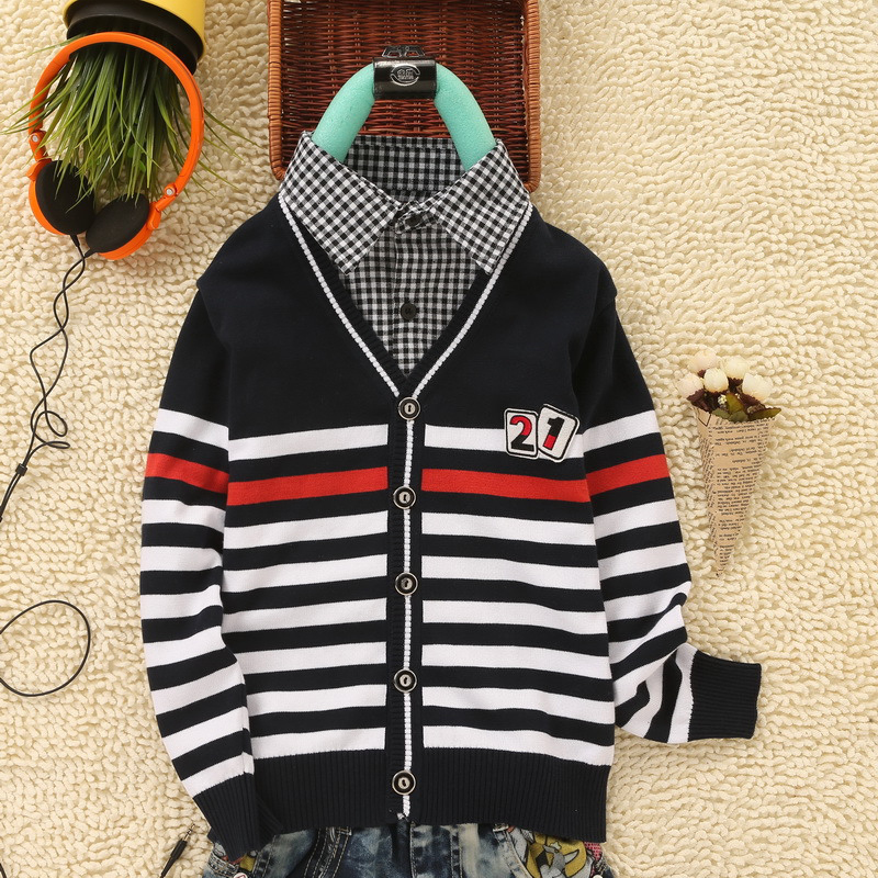 Knitted Sweater For Boy Baby Cardigan 2018 Winter New Kid Wear Fake T-shirt Collar England Style Teenager Boys Cardigan SweatersKnitted Sweater For Boy Baby Cardigan 2018 Winter New Kid Wear Fake T-shirt Collar England Style Teenager Boys Cardigan Sweaters