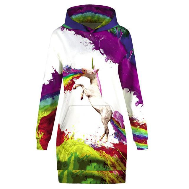 f21a88eb8c03 Nuevo otoño suéter vestido mujer 3D pintura colorida unicornio impreso  manga larga Sexy Mini vestidos Sudadera con capucha