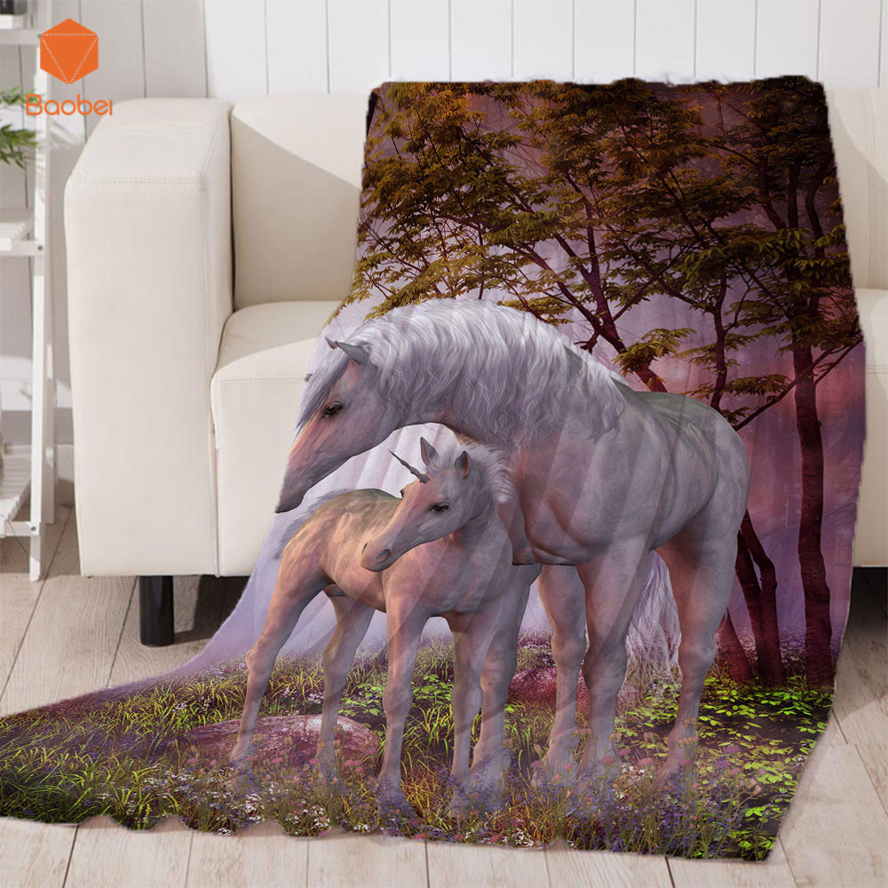 3D Pink Unicorn Thicking Blanket For Bed Super Soft Velvet Plush Throw Blanket Art Sherpa Blanket For Couch Throw Travel