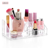 AIBAN Transparent Acrylic Cosmetic Organizer Make Up Storage Holder Box Lipstick Display Stand 18 Grids Cosmetic