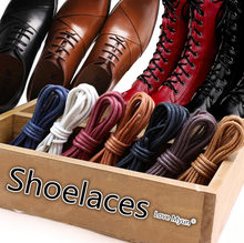 Waxed Cotton Round Shoelaces Leather Shoes Boots lace Waterproof ShoeLaces Shoestring Rope String Cord Black Brown Gray Red Blue(China)
