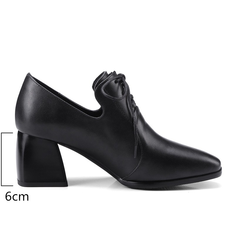 Genuino Zjvi Trabajo Pie Dedo Del Cuero Damas Encaje Las Mujer Tacones Primavera 2019 Y Cuadrado Negro Alta Moda Mujeres Otoño Zapatos De wrvrPE