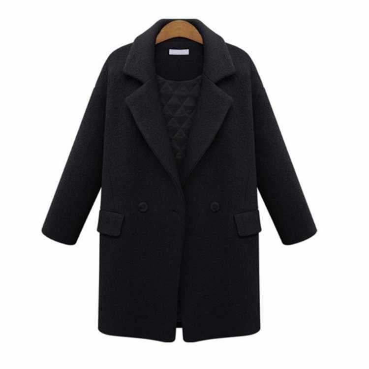 3650f0f4d4e1 ... 2019 New Fashion Pure Color Women's Wool Coat Thicken Plus Cotton Woolen  Jacket Autumn Winter Outwear