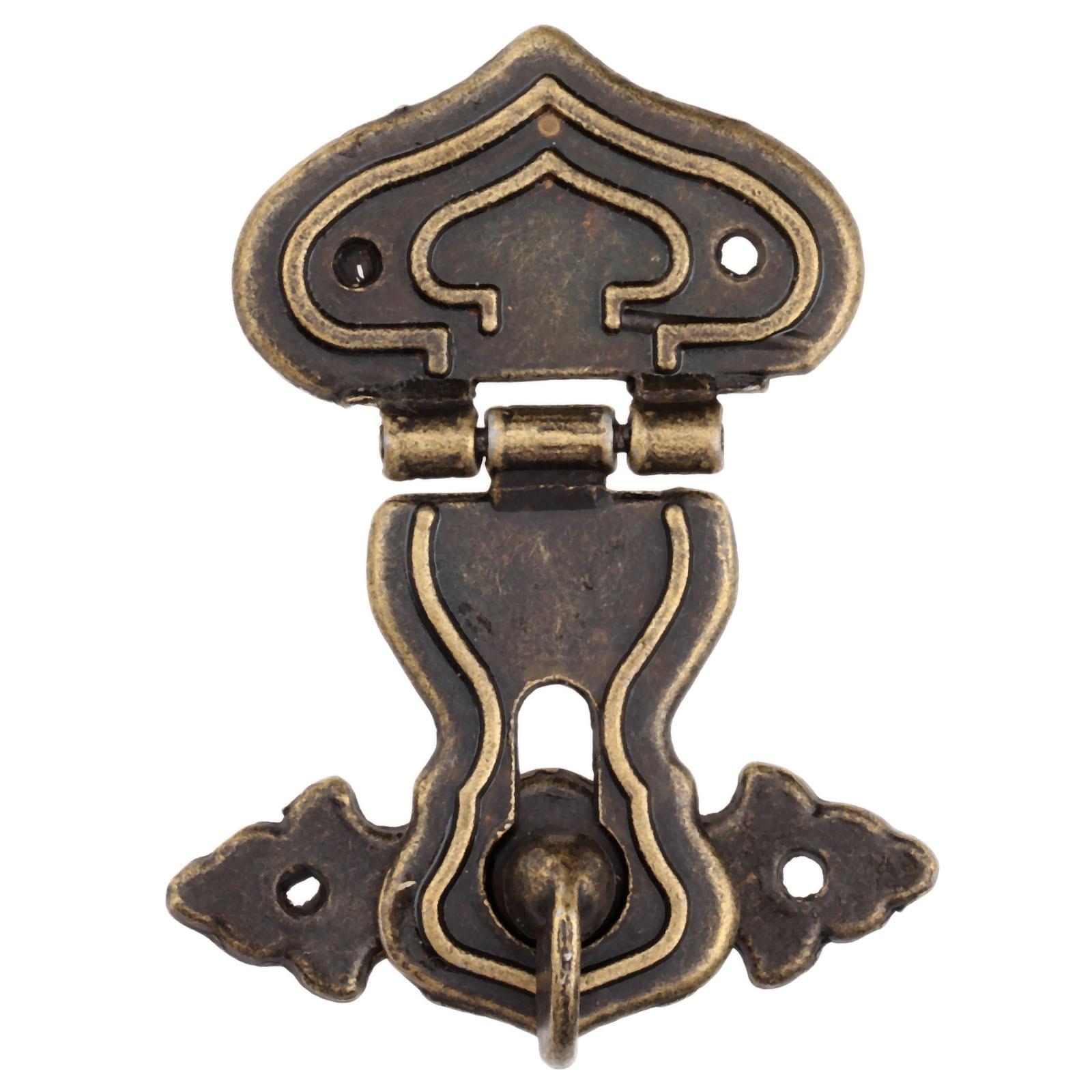 1 Stück Vintage Hardware Antike Messing Schließbügel Dekorative Schmuck Geschenk Holzkiste Haspe Retro Koffer Latch Haken Mit Schrauben 63 X 47mm