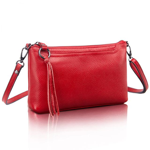 Couro do Couro Genuíno Sacos de Mulheres Mensageiro Borla Crossbody Bag Moda Feminina Bolsas de Ombro para as mulheres Embreagem Pequenas Bolsas