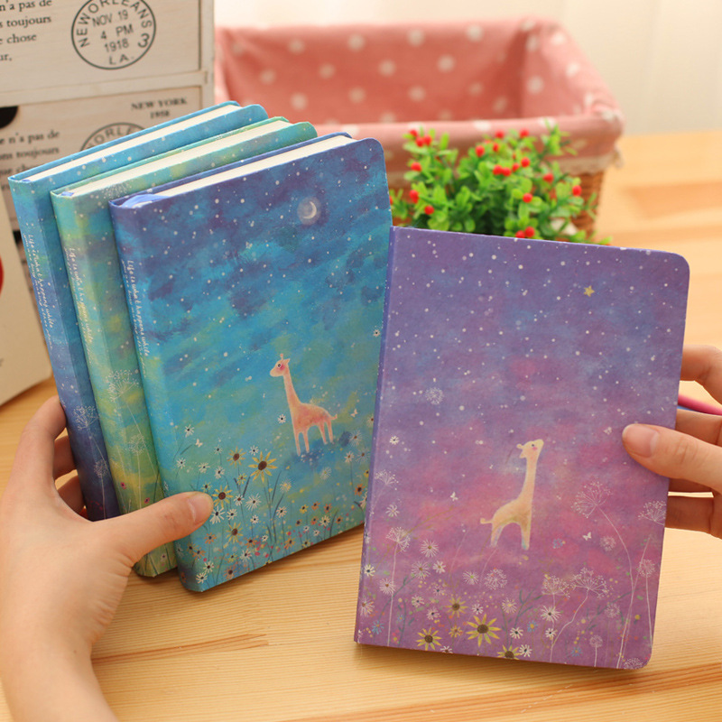 Creative Trends Notebook Cartoon Starry Sky Kawaii Giraffe Deer Journal Diary Notepad Korean Stationery School Office Supplies factory direct office supplies stationery 25 20 notebook korean creative diary custom thick notepad 1 pcs
