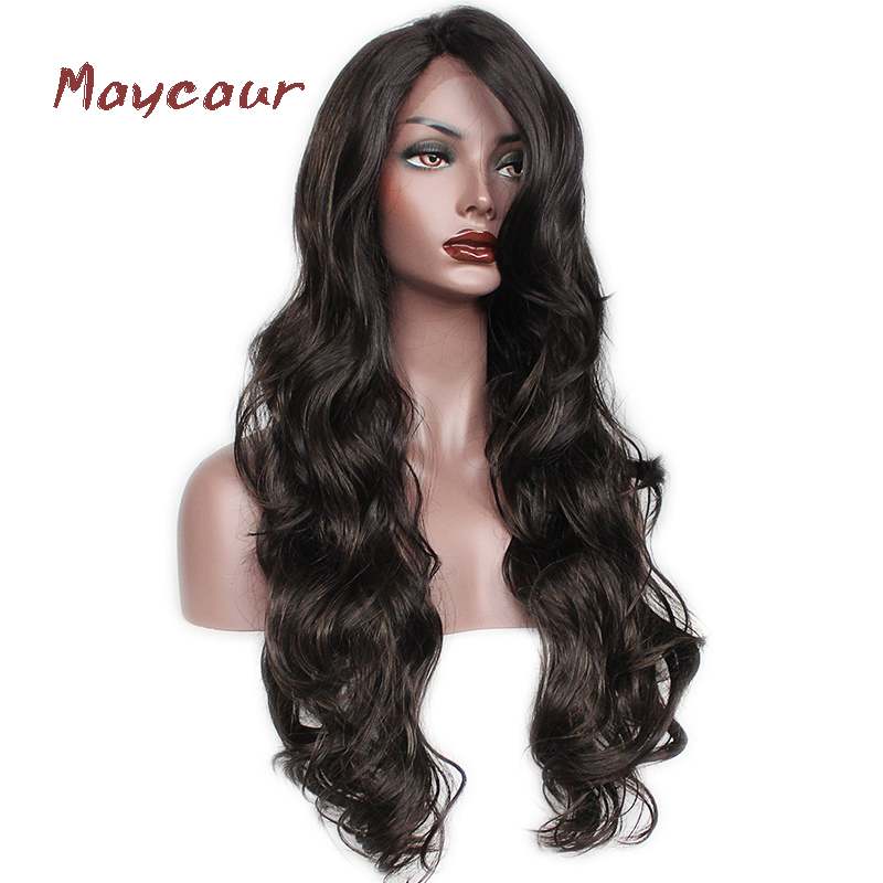 Maycaur #4 Color Long Body Wave Synthetic Lace Front Wig Natural Wigs For Women Free Part Hair Wig 180 Density