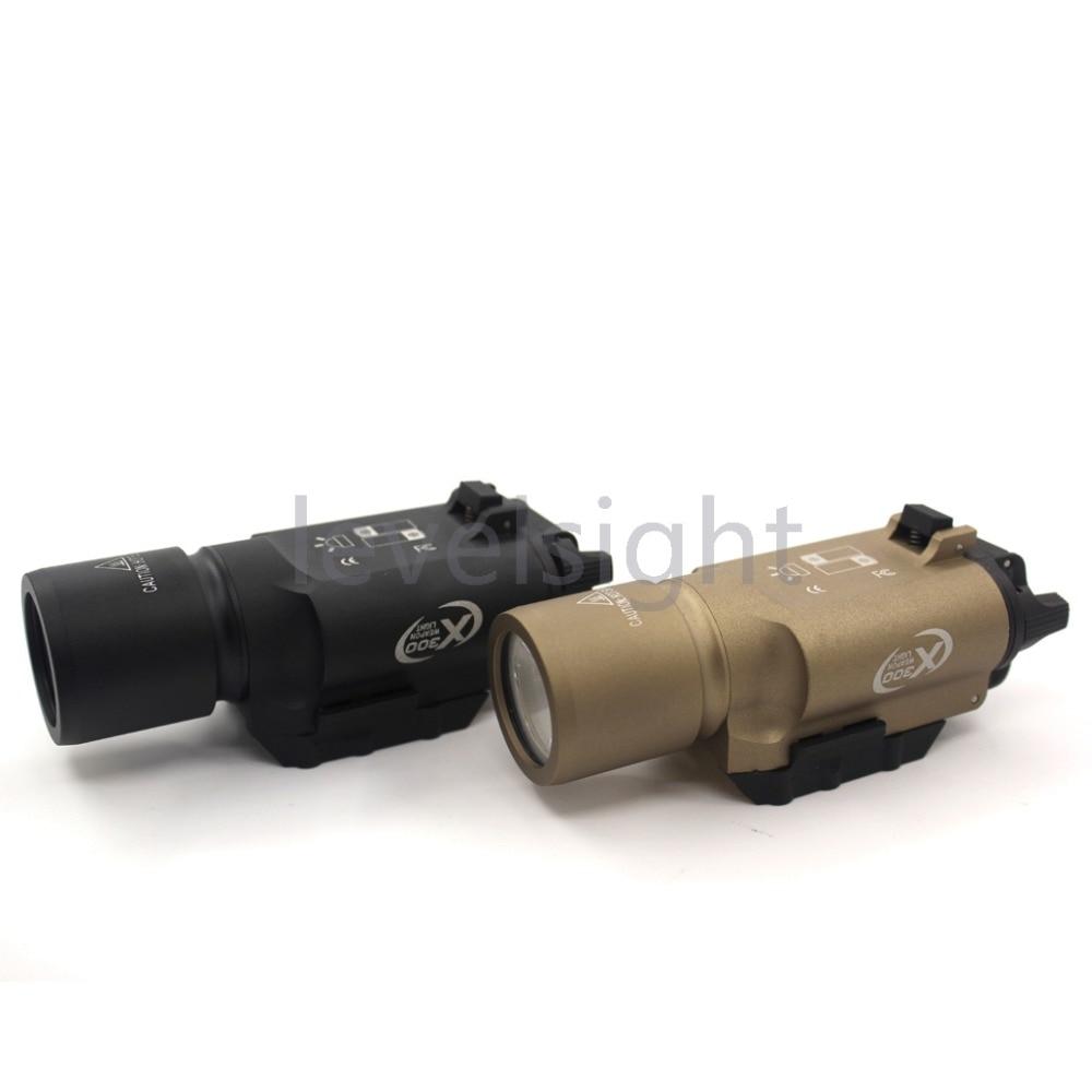 Tactical X300 LED Flashlight Light for Weaver/Picatinny Rail For Glock Weapon Light white light hunting-Black/Sand tactical light led weapon light picatinny rail mount shooting hunting sf x300 ultra m7155