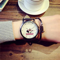 Cute Cartoon Mickey LONDON Leather Band Quartz Watch Wristwatches for Women Ladies Girls 14~40 Years Old OP001