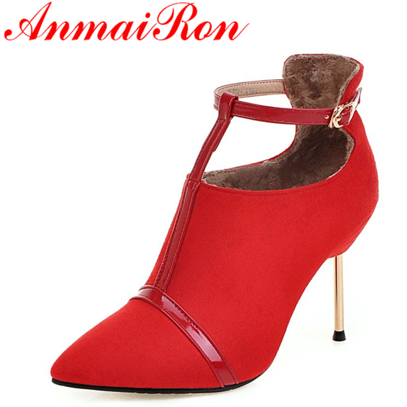 ANMAIRON High Heels Ankle Boots for Women Warm Winter Shoes Woman Sexy Red Black Shoes Shoes Pointed Toe T-strap Fashion Boots free post new blue 6 x aerovac filter for irobot roomba 600 series 620 630 650 660 670 680
