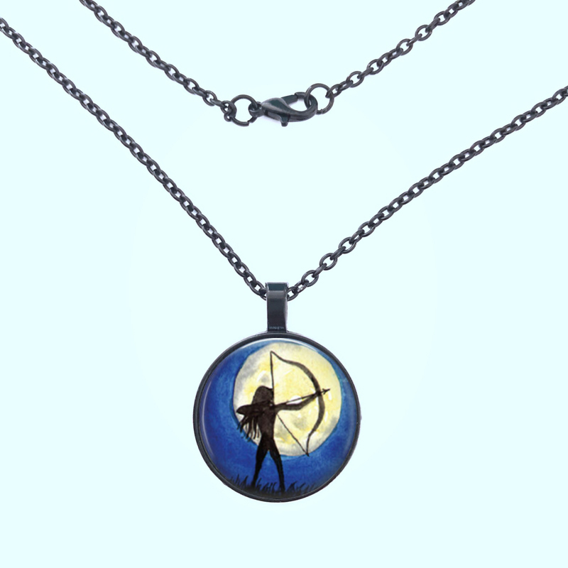 Victorian Archery Necklace black Art Pendant Water Color Jewelry in Pendant Necklaces from Jewelry Accessories
