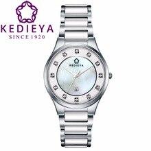 Easman бренд керамической кристалл дизайнер часы черный часы женщины цветочный оболочки скелет механические дамы керамические группы наручные часы