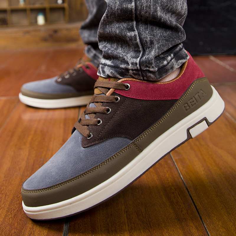 2016 New Spring/Autumn Suede Men Leather Shoes Fashion British Low Lace-up Men Flat Shoes Breathable Casual Shoes Men Shoes zdrd new fashion genuine leather men business casual shoes british low top lace up suede leather mens shoes brown red men shoes