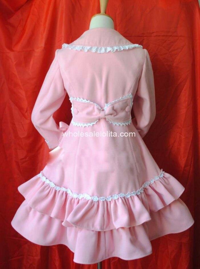 Настраиваемые Розовый милой принцессы Зимняя шерстяная одежда Теплый пузырь Пальто для будущих мам Лолита пальто готическая лолита шерсть 4XL 5XL 6 xlcoat