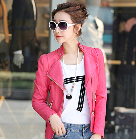 New fashion rose red jacket new 2019 bomber motorcycle   Leather   jackets women 2 color brand jacket jaqueta couro