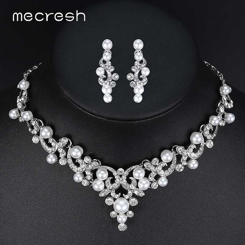Mecresh Trendy Simulated Pearl Bridal Jewelry Sets Plant Crystal Necklace Sets 2018 Hot Wedding Jewelry Engagement Gift MTL494