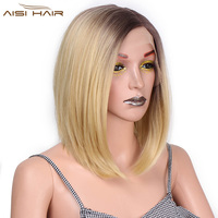 I's a wig Synthetic Ombre Blonde Bob Front Lace Wigs 12 inch Short Straight Wig Heat Resistant Fiber for Women Hair
