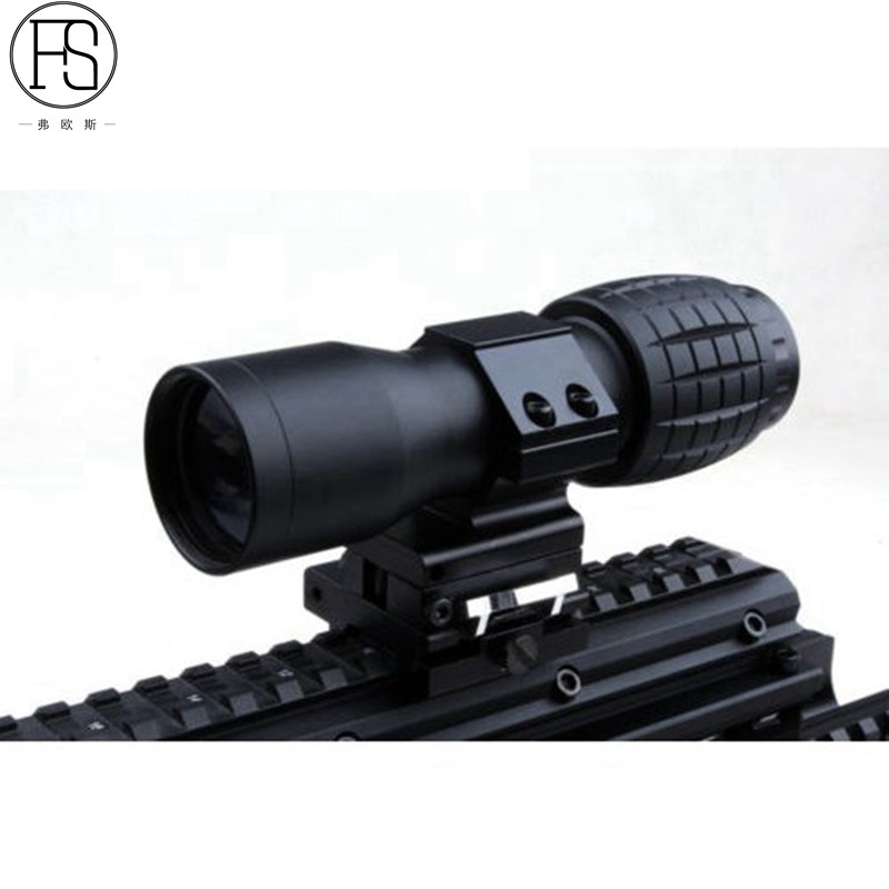 Tactical 4X Magnifier Optics Scopes Riflescope Fits Sight Flip FTS Flip Side Scopes Sights for Airsoft tac vector optics tactical 30mm flip to side 90 degree weaver picatinny mount ring for 3x 4x 5x magnifier scopes