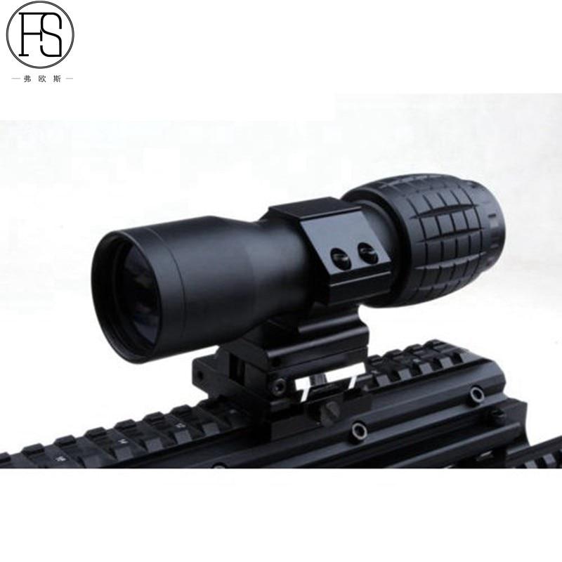 Tactical 4X Magnifier Optics Scopes Riflescope Fits Sight Flip FTS Flip Side Scopes Sights for Airsoft цена
